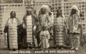 Standing Rock Resv SD Sioux Indians Full Costume Real Photo Postcard dcn