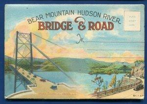 Bear Mountain Hudson River Bridge & Road S Curve Map postcard folder