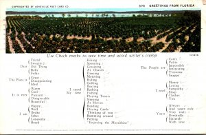 Humour Busy Person's Correspondence Card Greetings From Florida 1931
