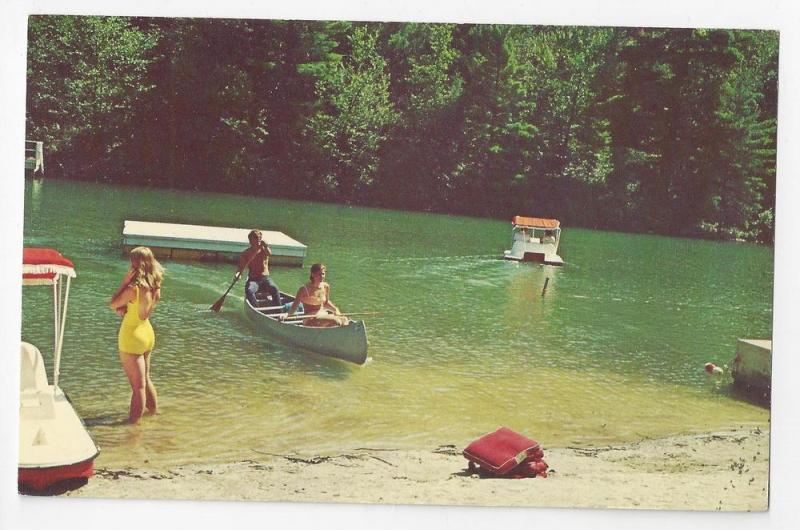 Lake Minausin Pocono Manor PA Swimming Boating Canoe Bathers