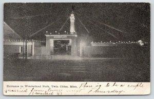 Minneapolis-St Paul Minnesota~Wonderland Park Entrance @ Night~1909 Postcard