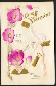 To My Valentine Cupid Mail & Flowers Used c1909