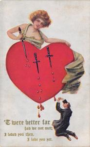 Valentine~Lady Thrusts Knife in Heart~Blood Drops~Mini Man: Better We'd Not Met