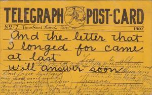 Tellegraph Postcard Sent 30 November 1908