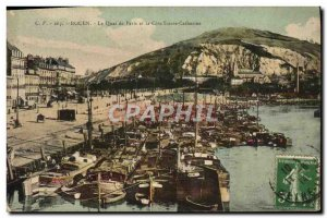 Old Postcard Rouen Le Quai de Paris and the Cote Sainte Catherine Boat