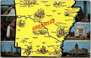 Vintage ARKANSAS Multi-View / State Map Greetings Postcard 6 State Scenes Linen