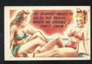 PRETTY SWIMSUIT GIRL RISQUE LESBIAN INTEREST VINTAGE COMIC POSTCARD