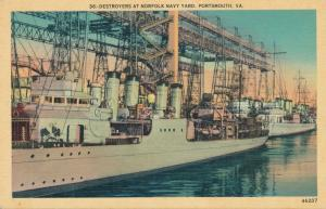 Destroyers at Norfolk Navy Yard - Portsmouth VA, Virginia - Linen