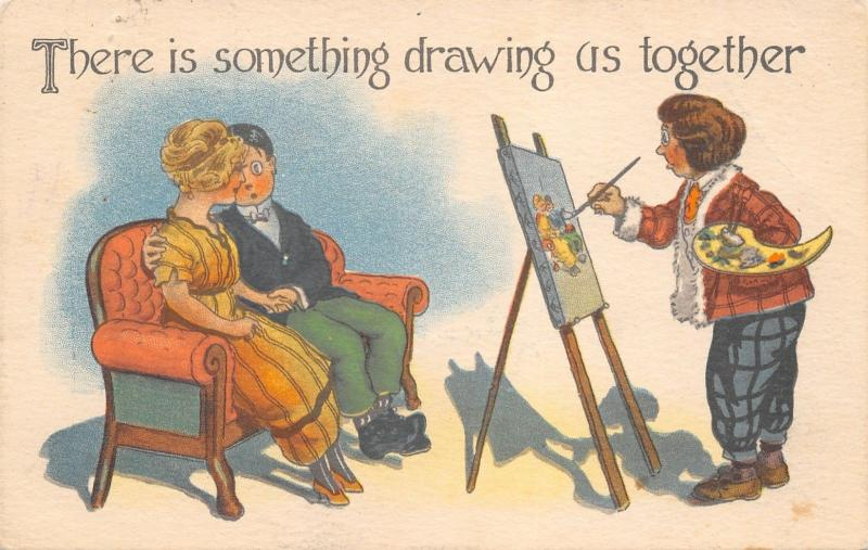 Artist, Easel & Palette~Draws Couple Together~Comic Pun~c1913 Fridlund~Swanville