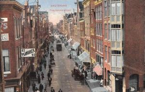 Amsterdam Netherlands Haarlemmerstratt Street Scene Antique Postcard K12994