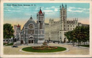 Syracuse New York~Court House Circle Flower Garden~Churches~1920s Postcard