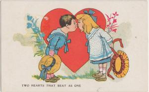 VALENTINE'S DAY Love Postcard Holiday Greetings 1912 TWO HEARTS BEAT ONE 138