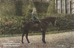 Price Edward of Wales on his horse Old vintage English Royalty Postcvard