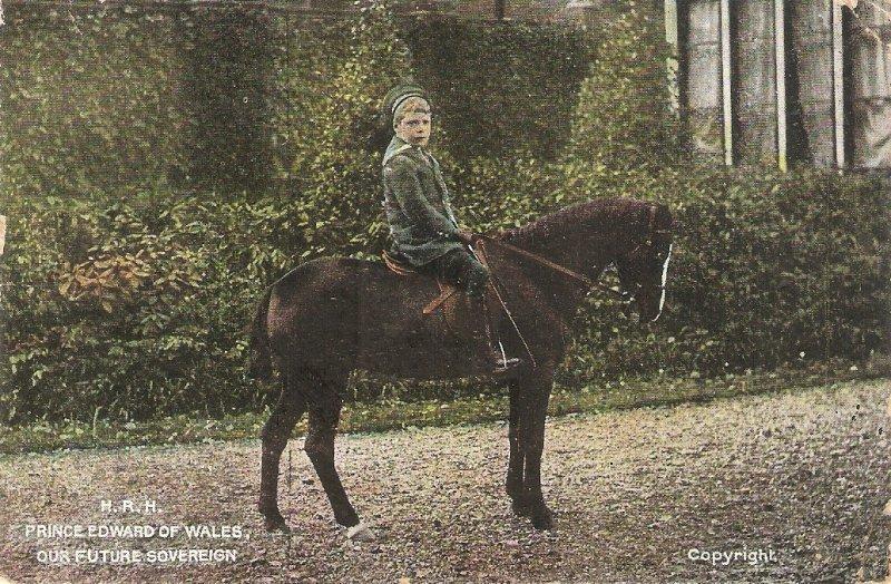 Price Edward of Wales on his horse Old vintage English Royalty Postcvard