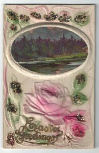 Vintage Easter Greetings Postcard,  A Country Scene, Pink Roses, Airbrush