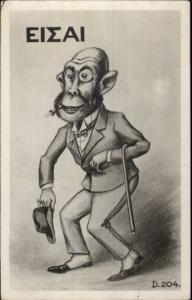 Greek Political Commentary? Satire? Man/Monkey Suit Monocle Cane ISE RPPC dcn