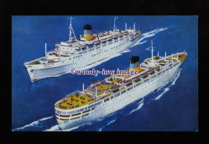 LS1490 - Greek Line Liners - Queen Anna Maria & Olympia - postcard - artist