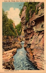 New York Ausable Chasm Down The Chasm From Devil's Punch Bowl Curteich