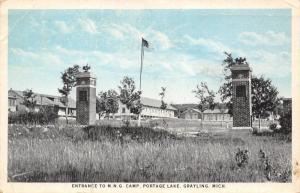 Grayling Michigan~Entrance Pillars to National Guard Camp~Portage Lake MNG~1925