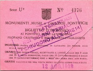 1939 Entrance Ticket Pontifical Museums of Nensi Piazza di San Giovanni Rome