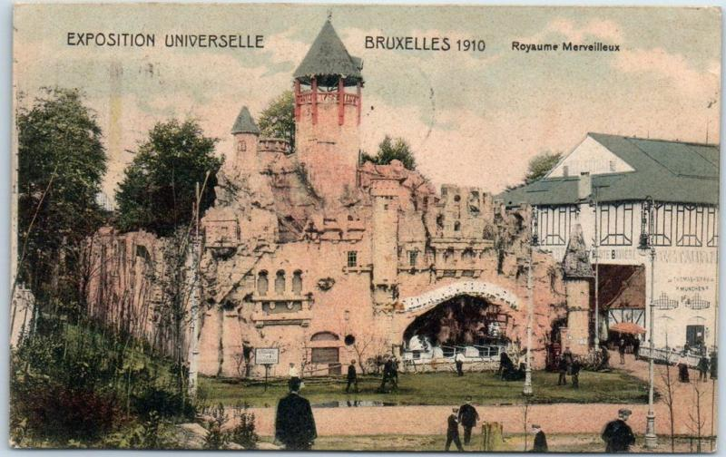 1910 Brussels Exposition Universelle Postcard Royaume Merveilleux w/ Cancel