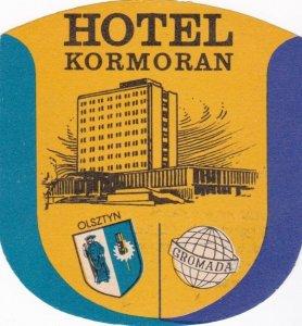 Poland Olsztyn Hotel Kormoran Vintage Luggage Label sk1553