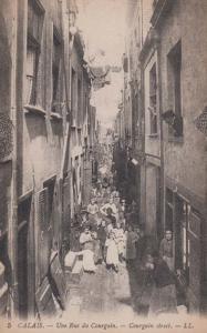 Calais Rue Du Courgain Antique French Postcard