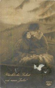 Postcard Greetings couple love romance romantic hat suit costume cart