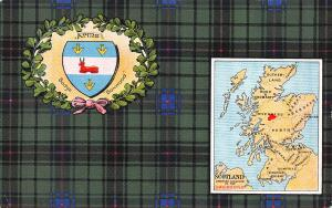 Davidson Tartan & Coat of Arms, Scotland, early postcard unused