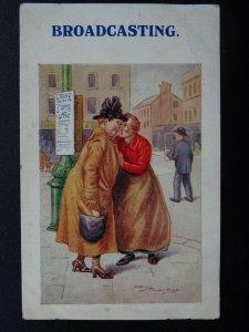 Gossip Theme BROADCASTING c1930's Reg Maurice Comic Postcard by Regent