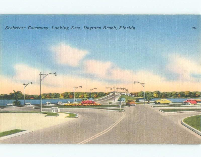 Unused Linen BRIDGE SCENE Daytona Beach Florida FL d4167