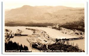 RPPC Aerial View of Bonneville Project on the Columbia River Real Photo Postcard