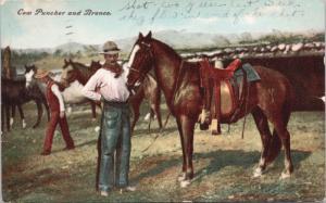 Cow Puncher and Bronco Cowboy Horse c1908 Antique Postcard E18