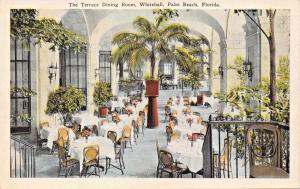 PALM BEACH FL~WHITEHALL-THE TERRACE DINING ROOM POSTCARD 1920s