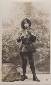 Lady In Sexy Edwardian Chiffton Suit Playing Antique Violin London Old Postcard