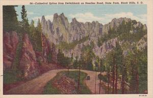 South Dakota Black Hills Cathedral Spries From Switchback On Needles Road Sta...