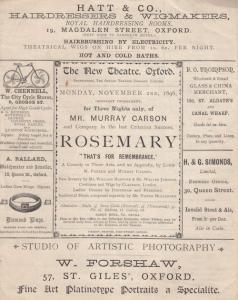 Longburton Dorset 1896 Victorian Theatre Programme