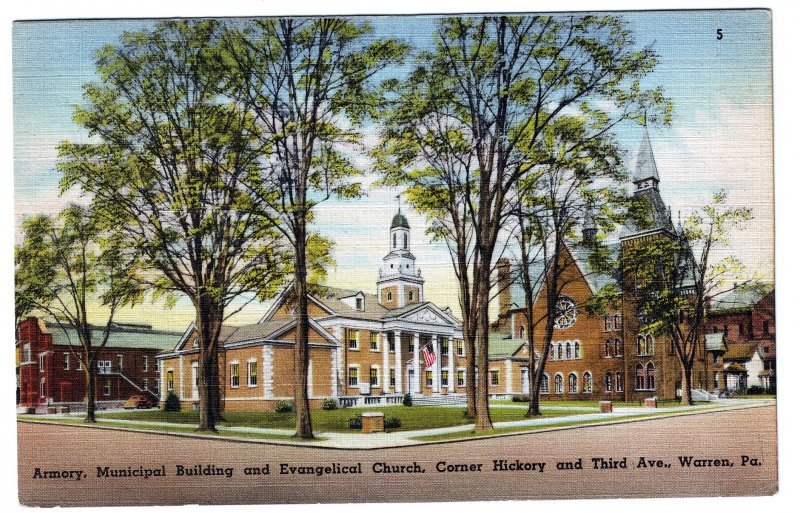 P1252 1952 postally use armory, evangelical church etc hickory 3rd ave warren pa