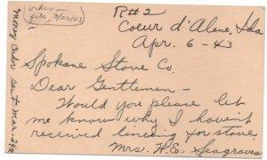 Penny Postcard UX27  1943 Jefferson.  Coeur D'Alene, Idaho