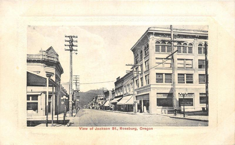 Roseburg Oregon~Jackson Street~Shopping District~Lady in Front of Store~c1910 Pc
