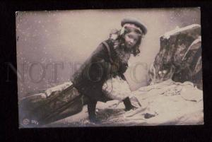 074715 Charming Girl in WINTER COAT vintage PHOTO Tinted
