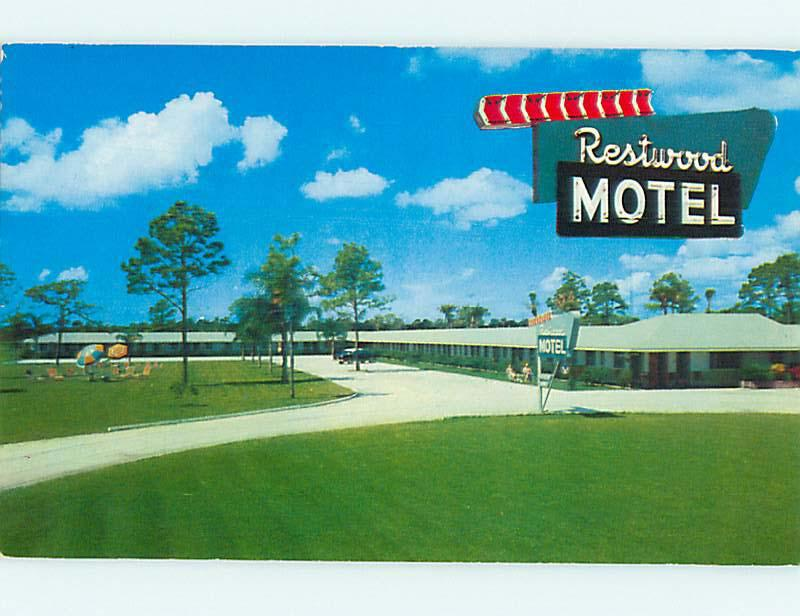 Unused 1950's OLD CARS & RESTWOOD MOTEL Sarasota Florida FL s3325