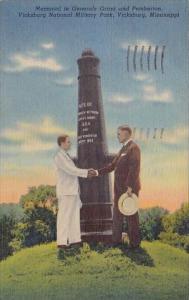 Mississippi Vicksburg Memorial To Generals Grant And Pemberton Vicksburg Nati...