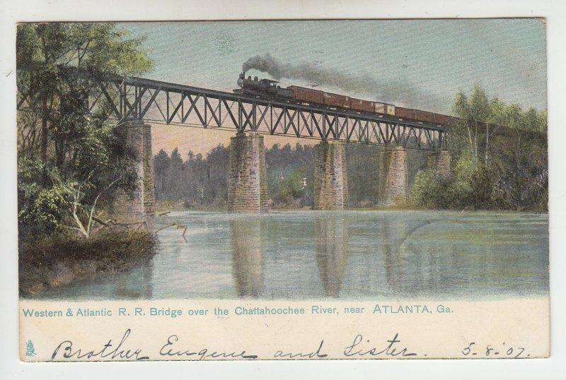 P1976 1907 western & atlantic railroad train & bridge chattahoochee river Ga.