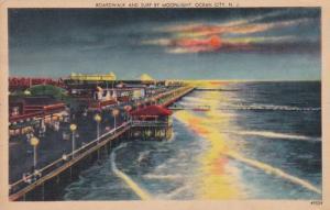 New Jersey Ocean City Boardwalk and Surf By Moonlight 1948