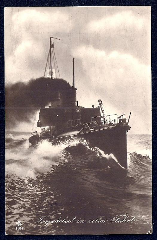 GERMANY Torpedo Boat at Full Speed Real Photo used c1914
