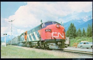 BC Canadian National Railways #9104 freight departs Red Pass Jct. Built 1952 - C