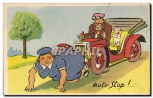 Old Postcard Fantasy Humor Automotive Auto Stop