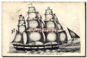 Postcard Old Ship sea sailboat three masts sailing closer to