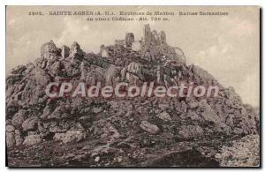 Postcard Old SAINTE AGNES surroundings Menton Saracen ruins of the old Chateau